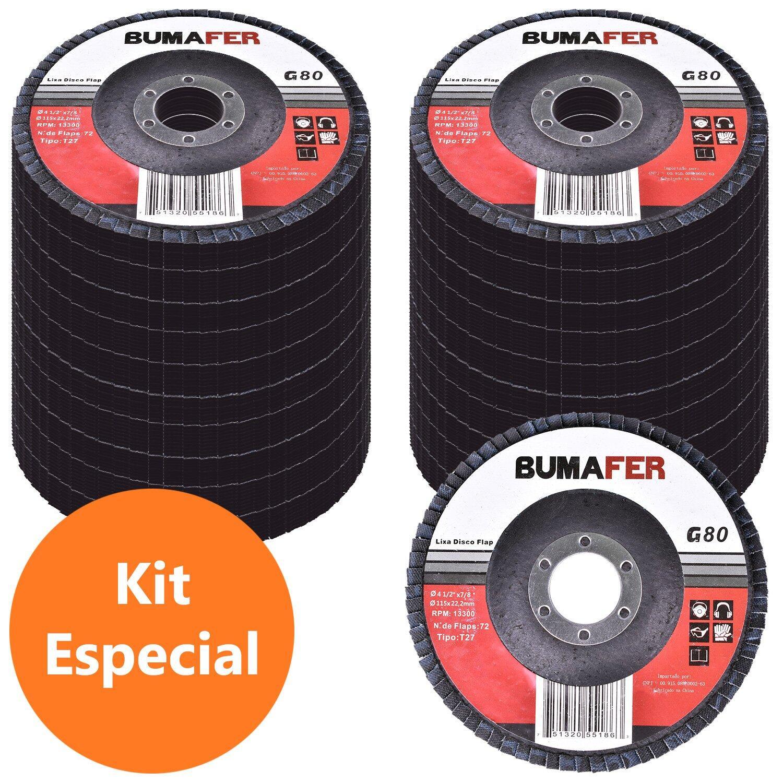 Lixas Disco Flap com 200 Peças 115 × 22 mm G80 Bumafer