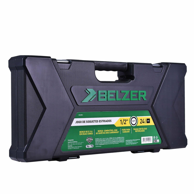 """Jogo De Soquete 10 A 32mm 1/2"""" 204400BJ Belzer - 24 Peças"""