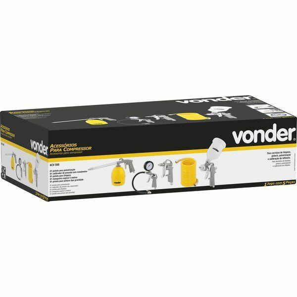 Kit Compressor Pintura E Calibrações Acv500 Vonder - 5 Peças