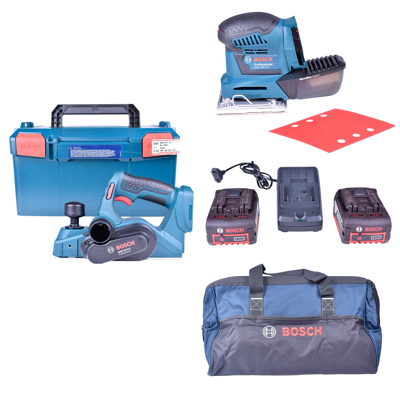 Lixadeira Orbital Gss18V-10 + Plaina Gho18V-Li + Carregador com 2 Baterias 18V + Bolsa Para Ferramentas Bosch