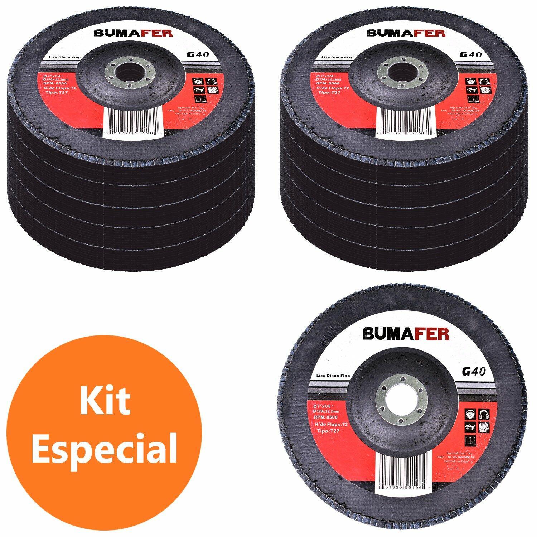 Lixas Disco Flap com 100 Peças 180 × 22 mm G40 Bumafer