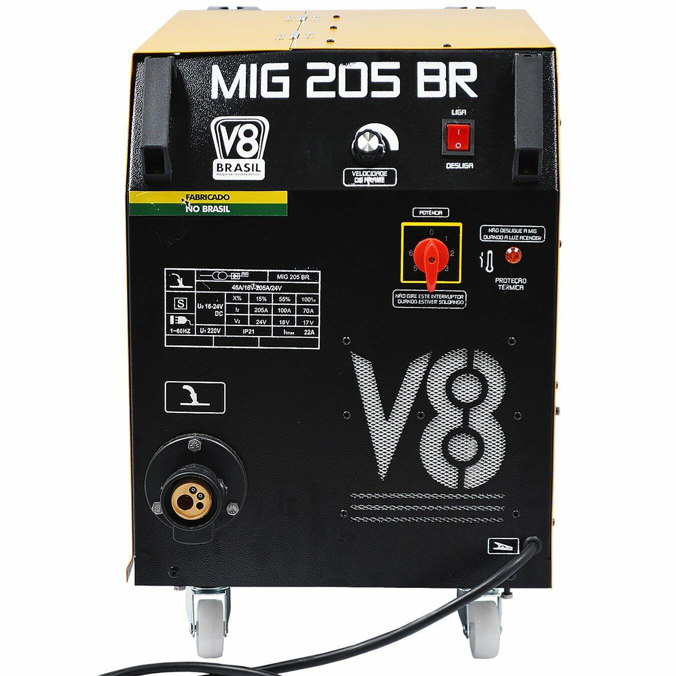 Máquina De Solda MIG 205A Sem Tocha MIG205BR V8 Brasil 220V