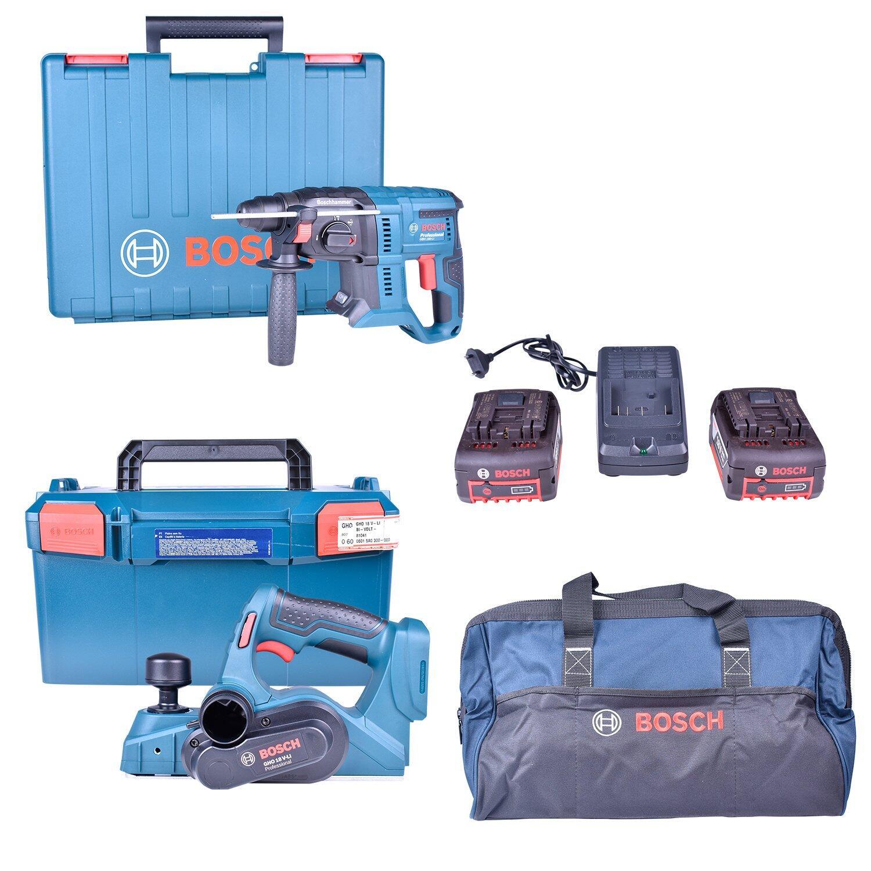 Martelete Perfurador Sds 18V Gbh180-Li + Plaina A Bateria 18V Gho18V-Li + Carregador de Bateria Com 2 Baterias 18V + Bolsa Para Ferramentas Bosch