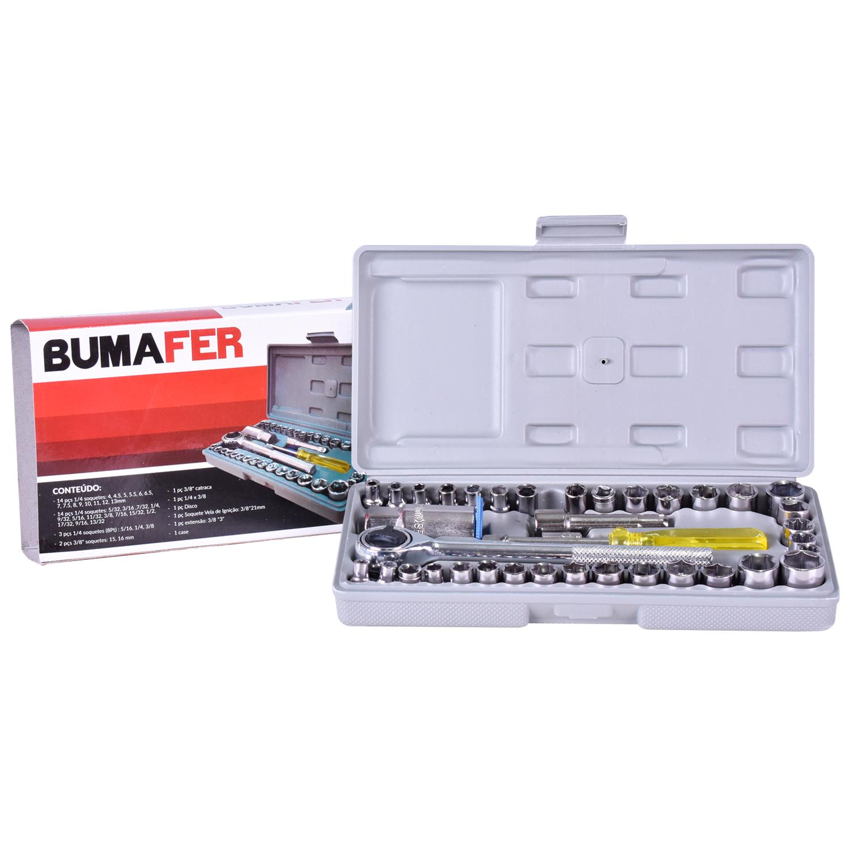 Parafusadeira/furadeira A Bateria 12V Pfv012 C/ Kit Vonder+ Jogo de Soquete Reversível 40 Peças Sextavado Bumafer